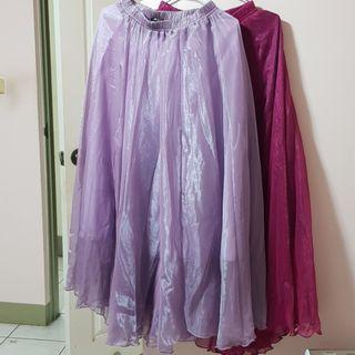 【服飾】鬆緊腰頭雪紡大襬仙女裙,紫紅95cm/淺紫90cm。全新轉賣