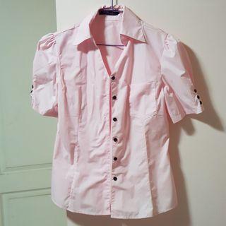 【服飾】粉色黑扣胸口口袋短袖襯衫,L號。全新轉賣
