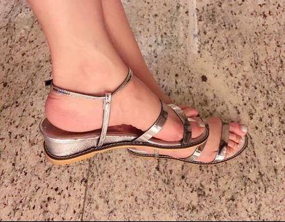 Candice  正韓小楔型銀色涼鞋