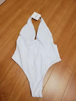 Zaful white one piece swim wear