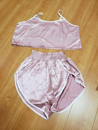 Zaful 2 piece silk pink outfit