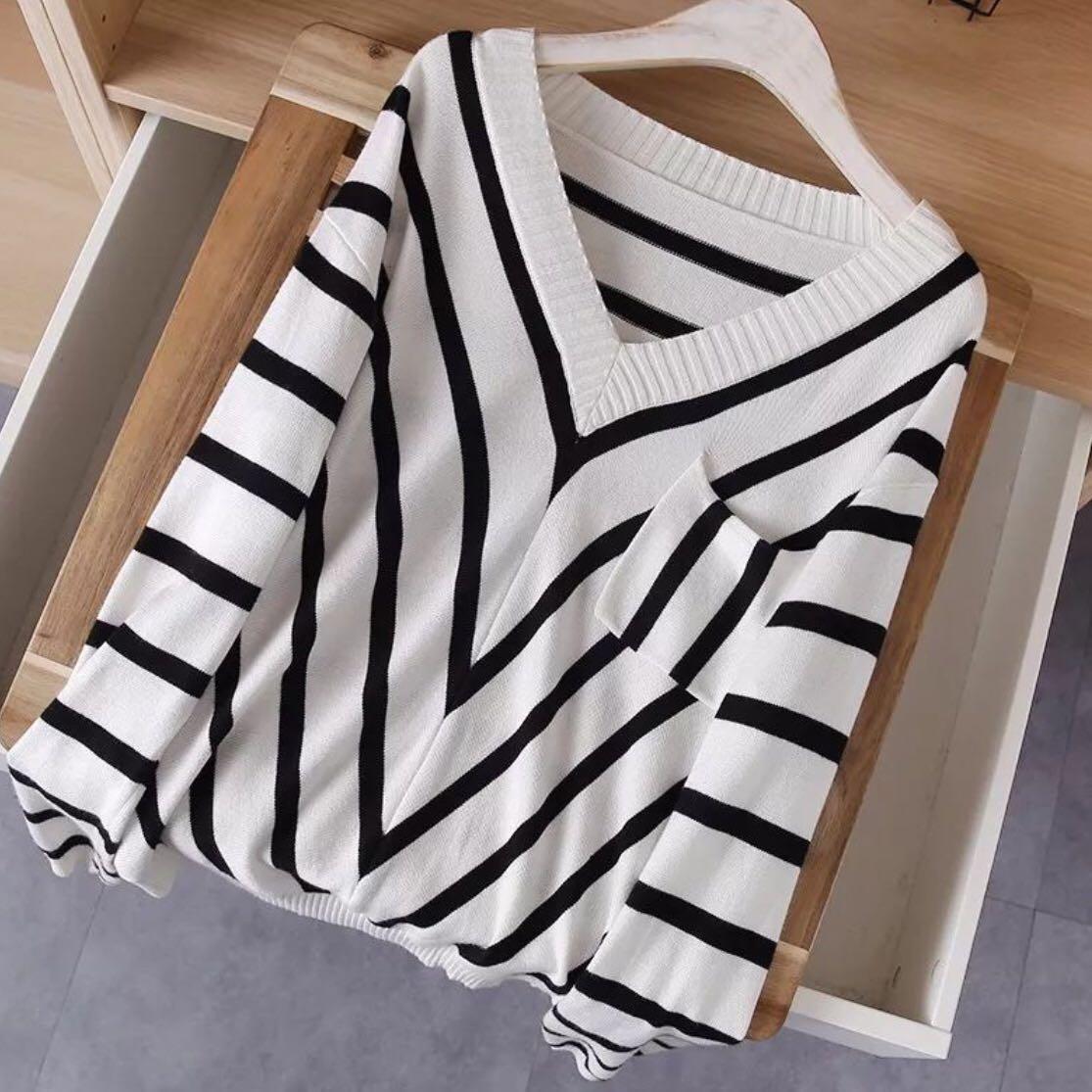 OshareGirl 10 歐美女士氣質V領針織衫毛衣
