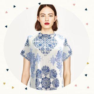 Zara look like bkue ornament mini dress