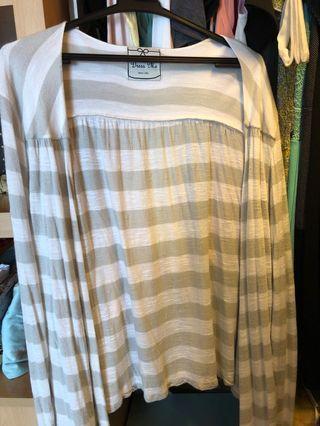 Dress me light grey striped cardigan