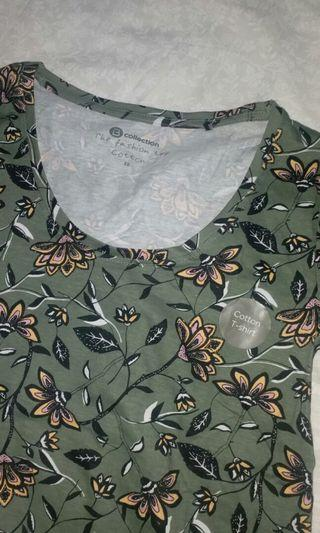 baju kaos hijau bunga floral NEW