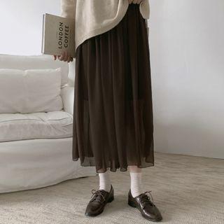 飄逸素色後鬆緊雪紡長裙 skirt ( dejou )