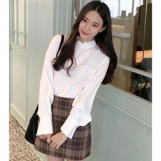 荷葉邊點綴長袖襯衫 blouse ( mixxmix ) 雪紡 內搭 高領 素色