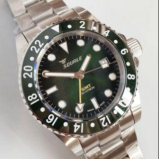 VERY RARE DISCONTINUED SQUALE 30 ATMOS GMT ALPINE GREEN DIVER