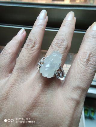 緬甸A貨翡翠,冰種起膠,招財貔貅戒指,925銀台,
