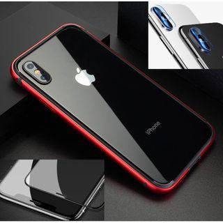 蘋果I PHONE X 全套周邊大組合包 鋼化玻璃貼 鏡頭膜 紅金屬框 賠錢賣