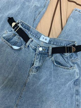 特殊縮腰造型牛仔寬褲