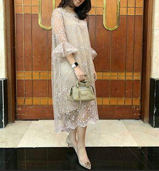 Tule (tile) lace dress (dress pesta/kondangan) nude gold
