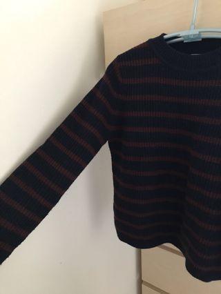 深藍酒紅條紋針織上衣