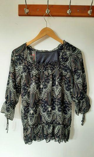 Blouse bunga / vintage blouse / vintage top