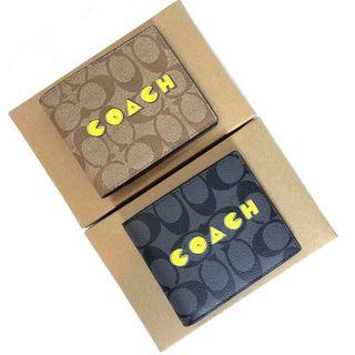 COACH 75910 新款男士短夾 吃豆人短夾 經典LOGO 內置相片卡位 附購證 禮品盒