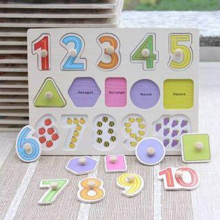 Puzzle Kayu Angka & Bentuk