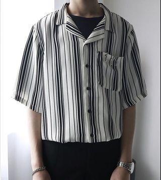 韓國清爽面料 垂感超强 金属小环扣 復古條紋襯衫 迴紋針扣環