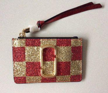 Lucky gold and red top zip Marc Jacobs wallet