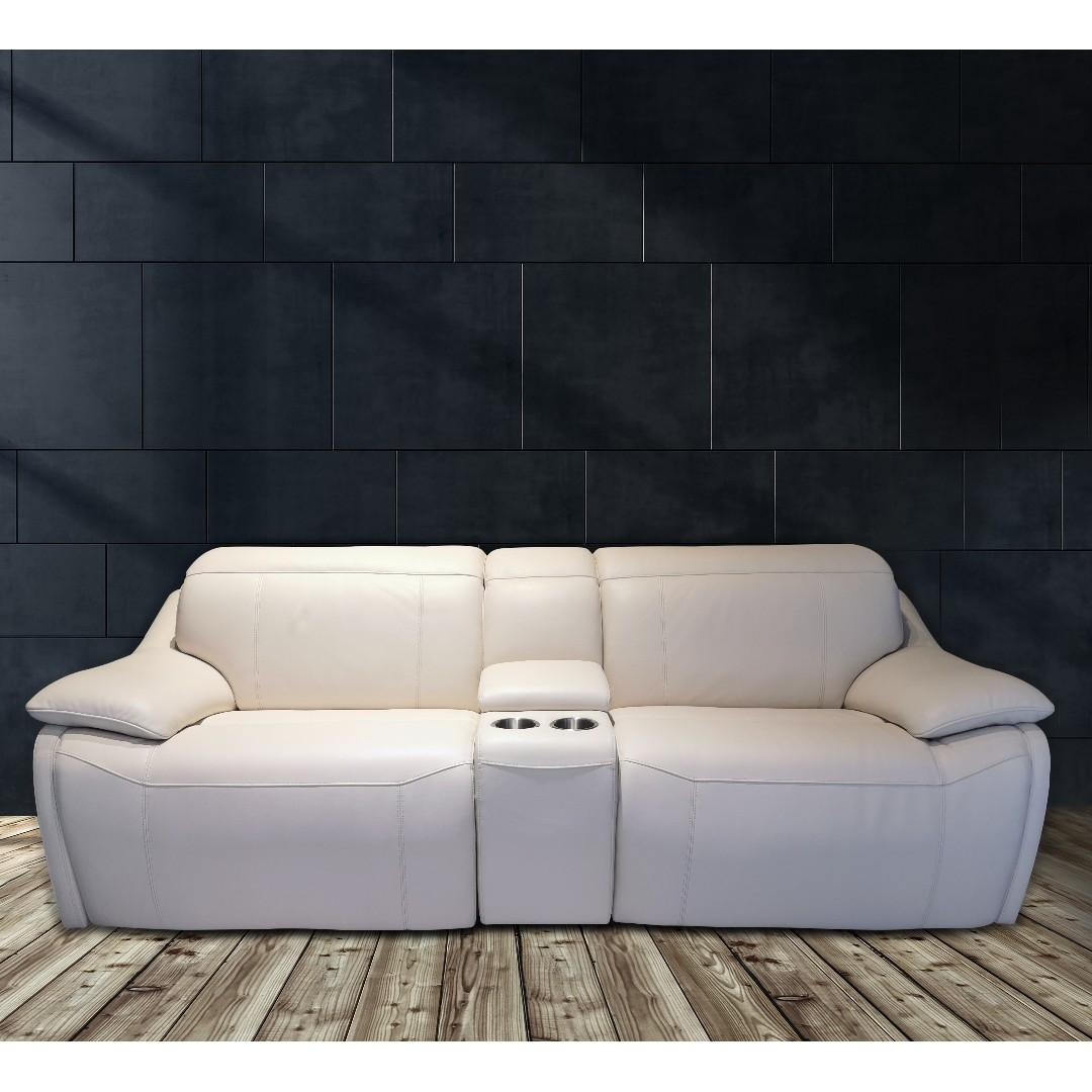 2 Seater electric recliner in italian top grain leather
