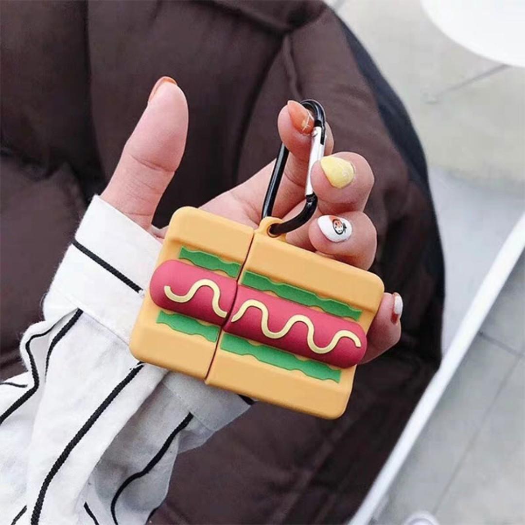 【肉肉3C】現貨-熱狗香腸Apple airpods保護套 無線藍芽耳機保護套 蘋果耳機保護套 耳機收納盒 3C小物
