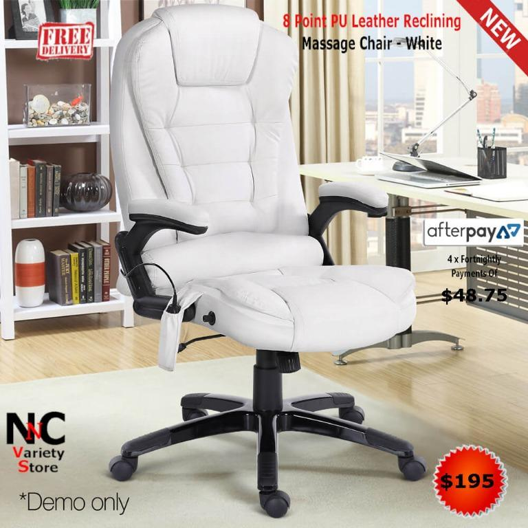 8 Point PU Leather Reclining Massage Chair – White