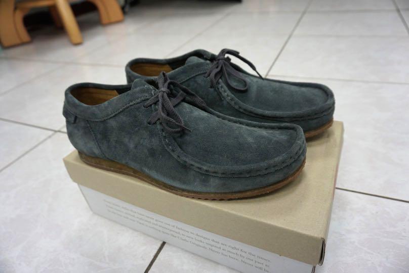 [全新9號] Clarks Originals Wallabee 低筒袋鼠鞋 麂皮 藍灰色 (休閒鞋 踝靴)