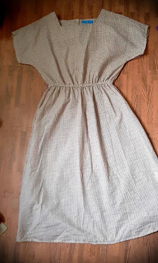 短袖格子連身裙
