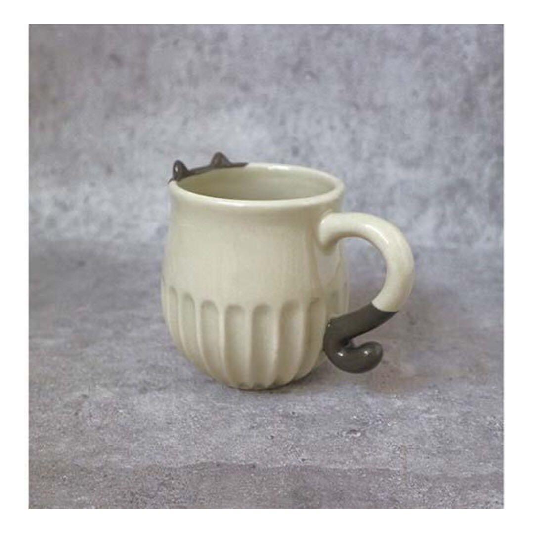 日本貓咪削陶杯-八分貓