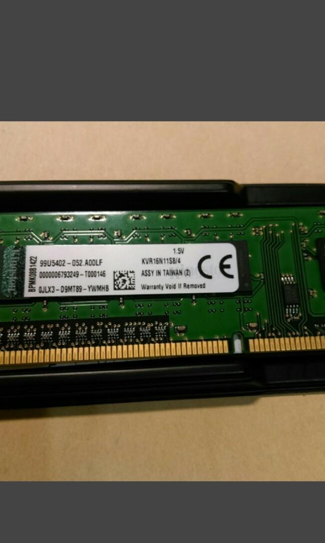 金士頓 4G DDR3 1600 桌電