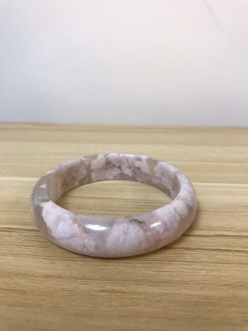櫻花瑪瑙粉色手鐲  57.8 (粗15m) no.2.1