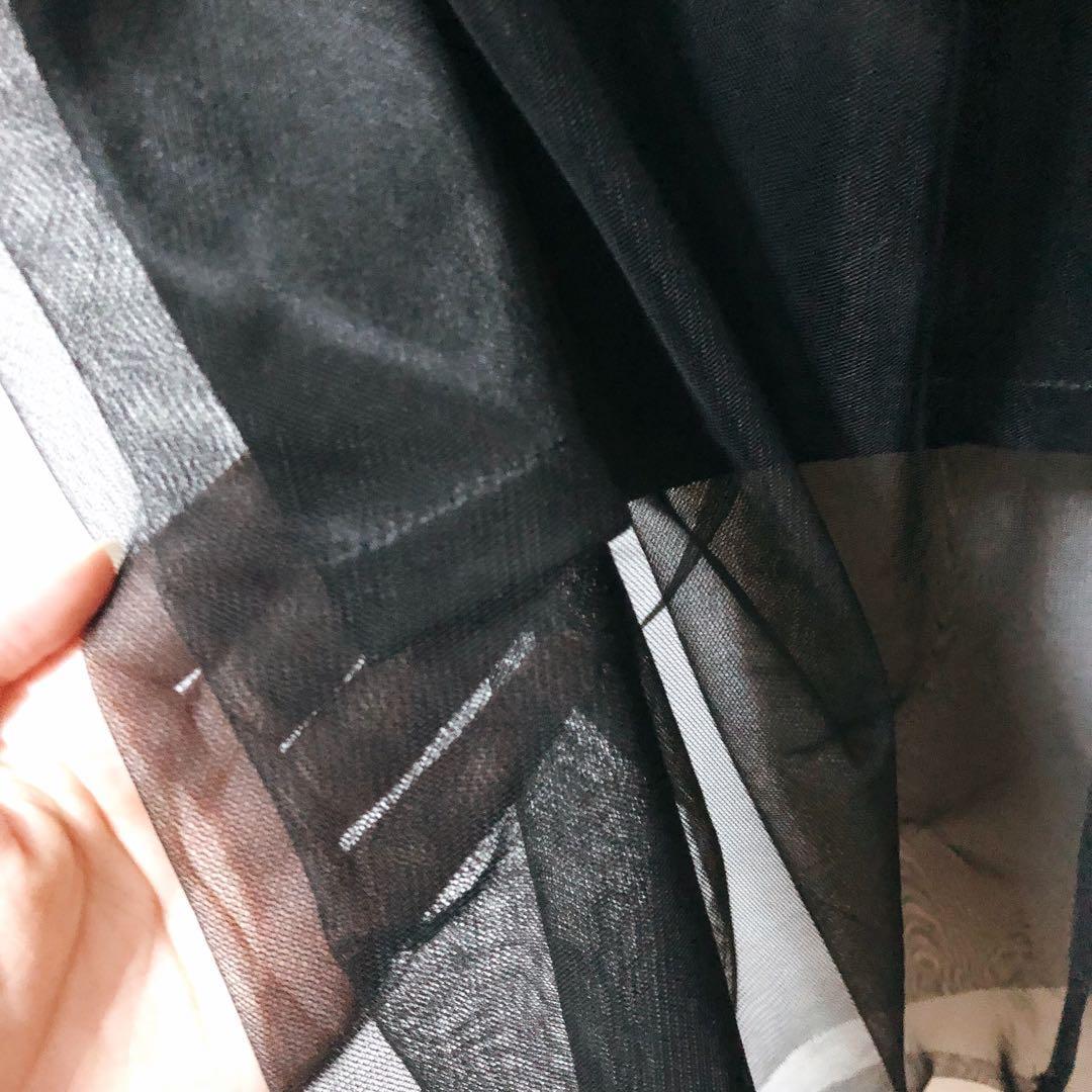 暗黑風格 網紗高腰緞面長裙 黑色現貨💕