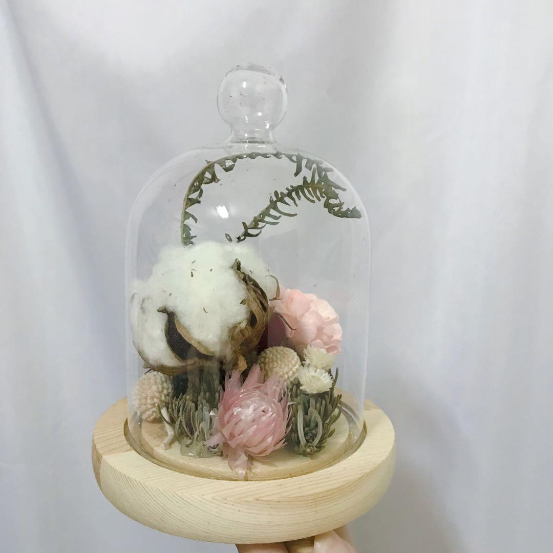 [花好玥圓]玻璃罩乾燥花 乾燥花束 乾燥花