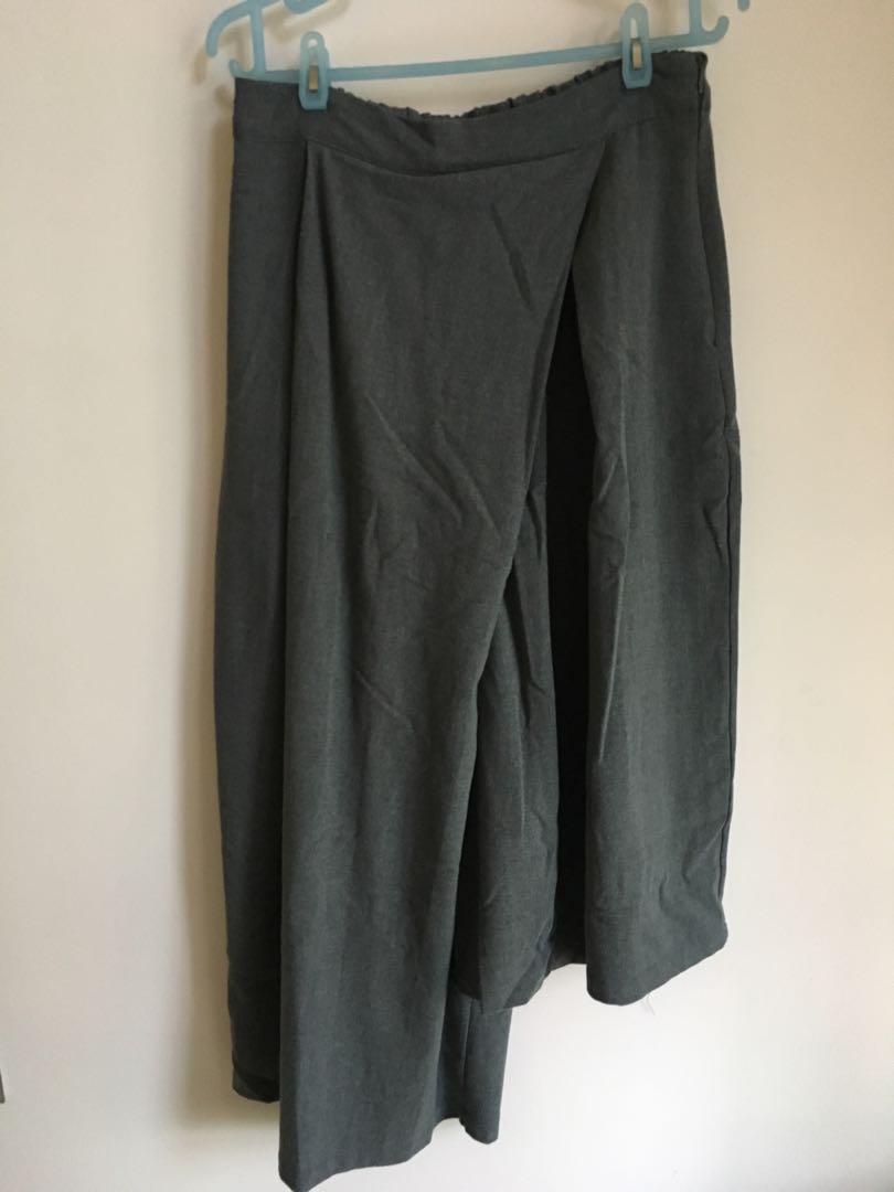 韓國 女裝灰色 長短腳七分闊腳褲(裙褲 原價$249)