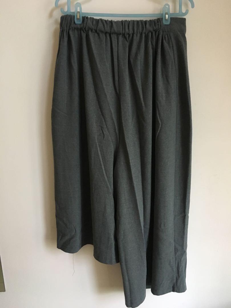 韓國 女裝灰色 長短腳 七分九分闊腳褲(裙褲 原價$249)