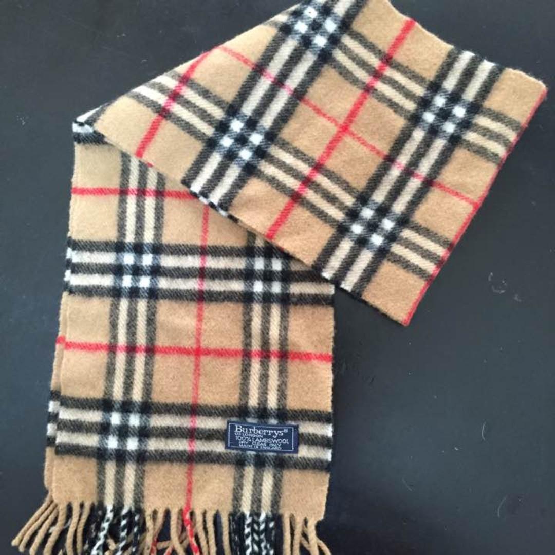 正品 Burberry 巴寶莉 經典格紋圍巾 英倫風 純羊毛 英國製 二手