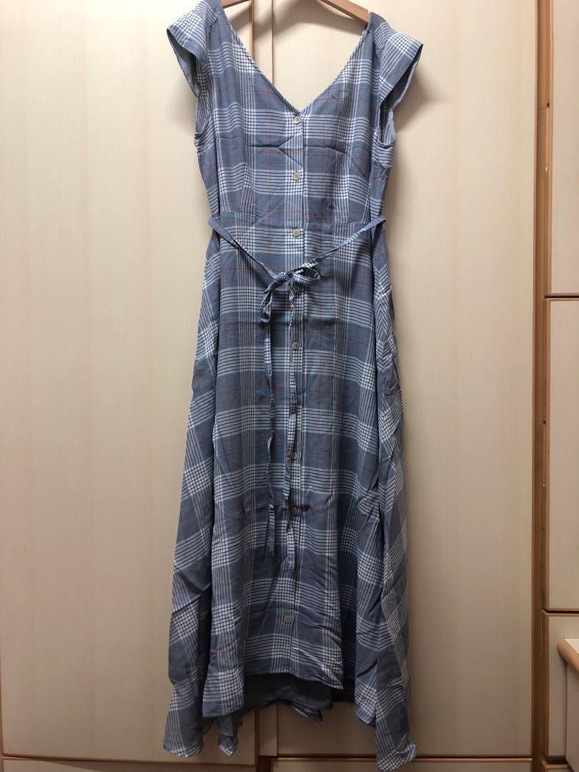 ⭐️ Japan Jewel Changes dress 日本 日牌 文青 斯文 靚料 有底裙 格仔 長裙 前後兩穿 有腰帶