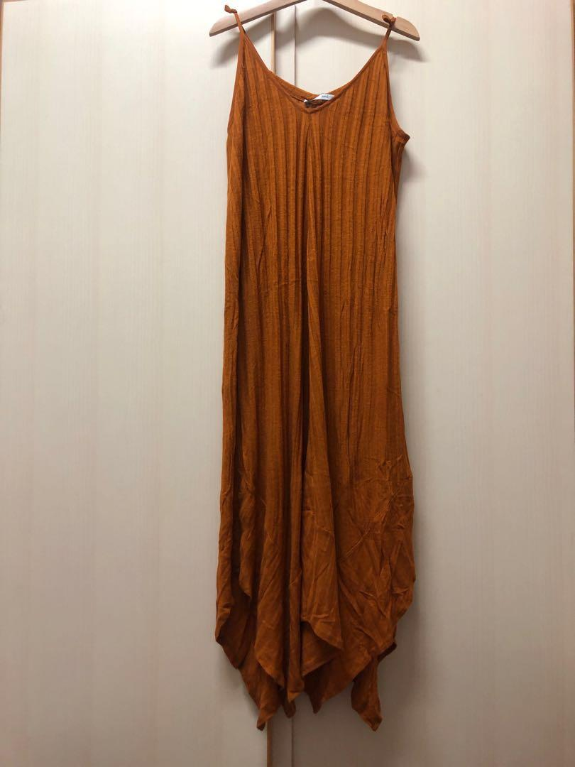 ⭐️ Zara summer brown dress size s 渡假 焦糖 啡色 吊帶 長裙 連身裙