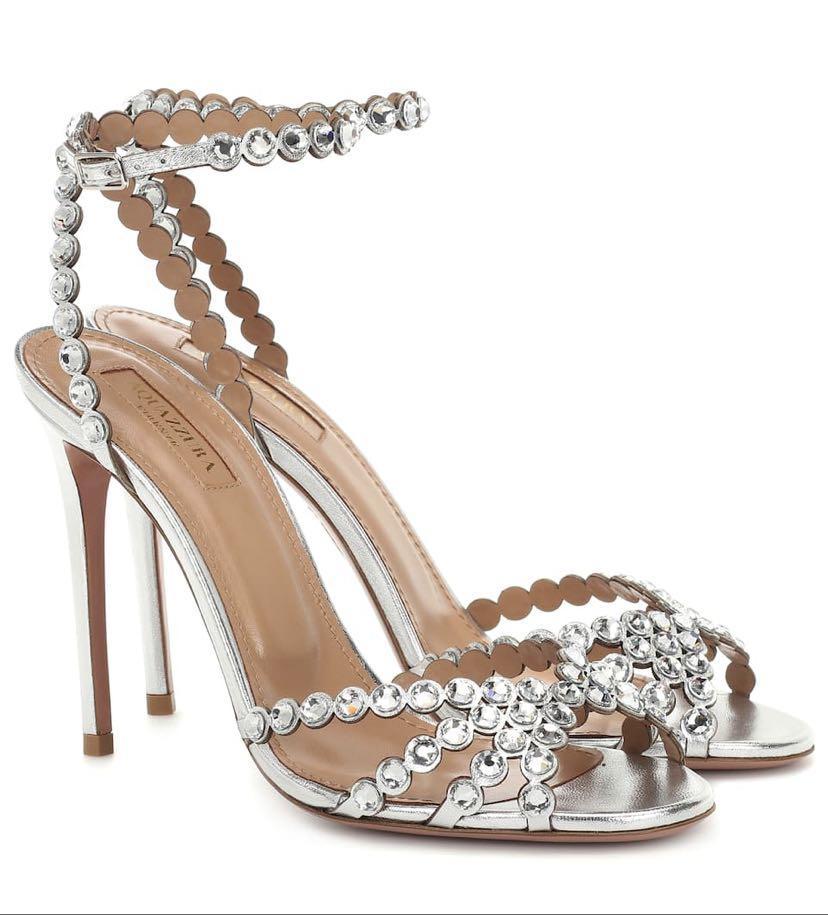 AQUAZZURA Aquazzura Tequila 105 crystal-embellished metallic leather sandals - size EUR 38.5/US 8.5/AUS 8