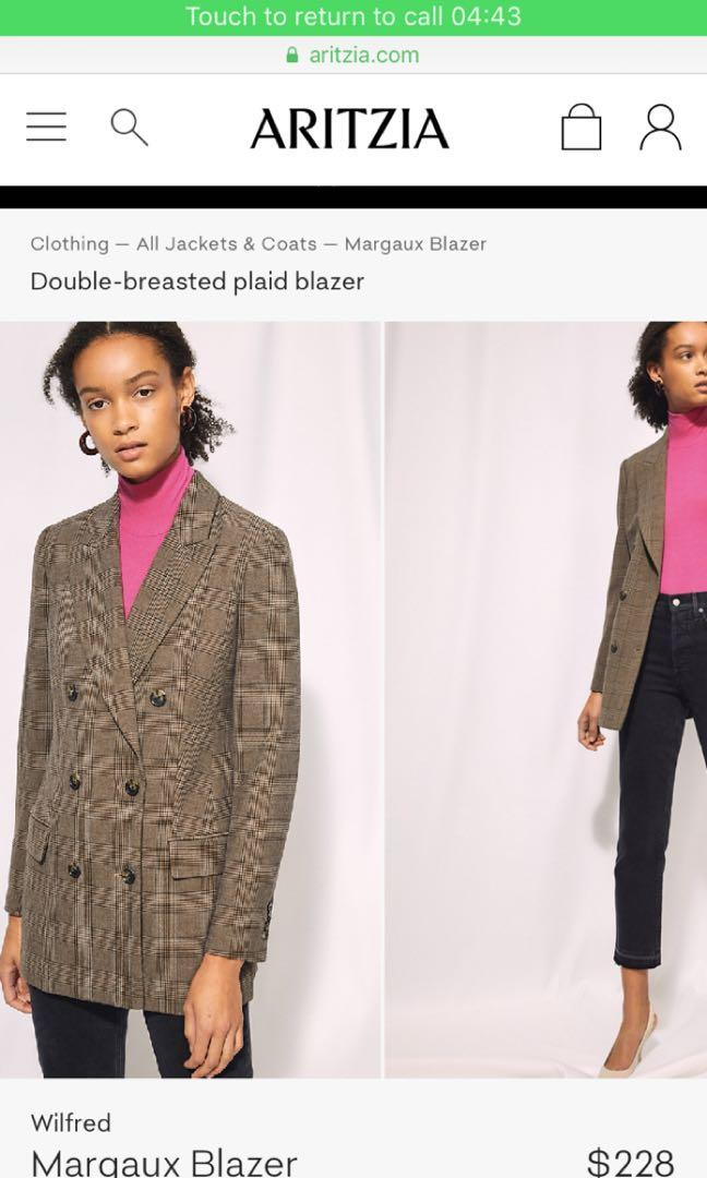 Aritzia Wilfred Margaux blazer double breasted brown plaid size 2