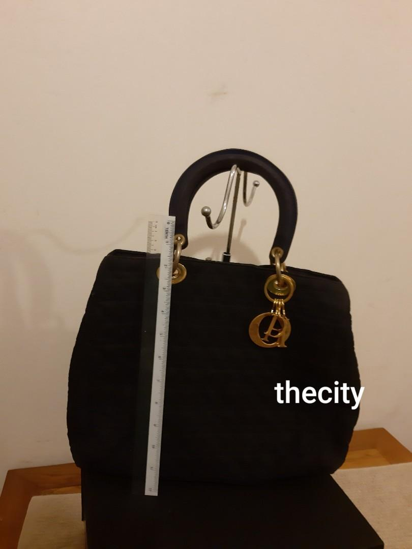 AUTHENTIC DIOR, LADY DIOR TOTE BAG - BLACK SUEDE MICROFIBER - GOLD HARDWARE- D-I-O-R  CHARMS INTACT - CLEAN INTERIOR - RARE DOUBLE ZIP DESIGN LADY DIOR - (LADY DIOR BAGS NOW RETAIL AROUND RM 20,000+)