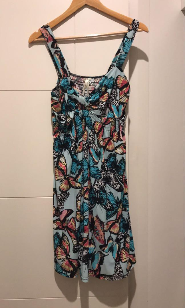 Beautiful Colourful Butterfly Knee Length Summer Dress