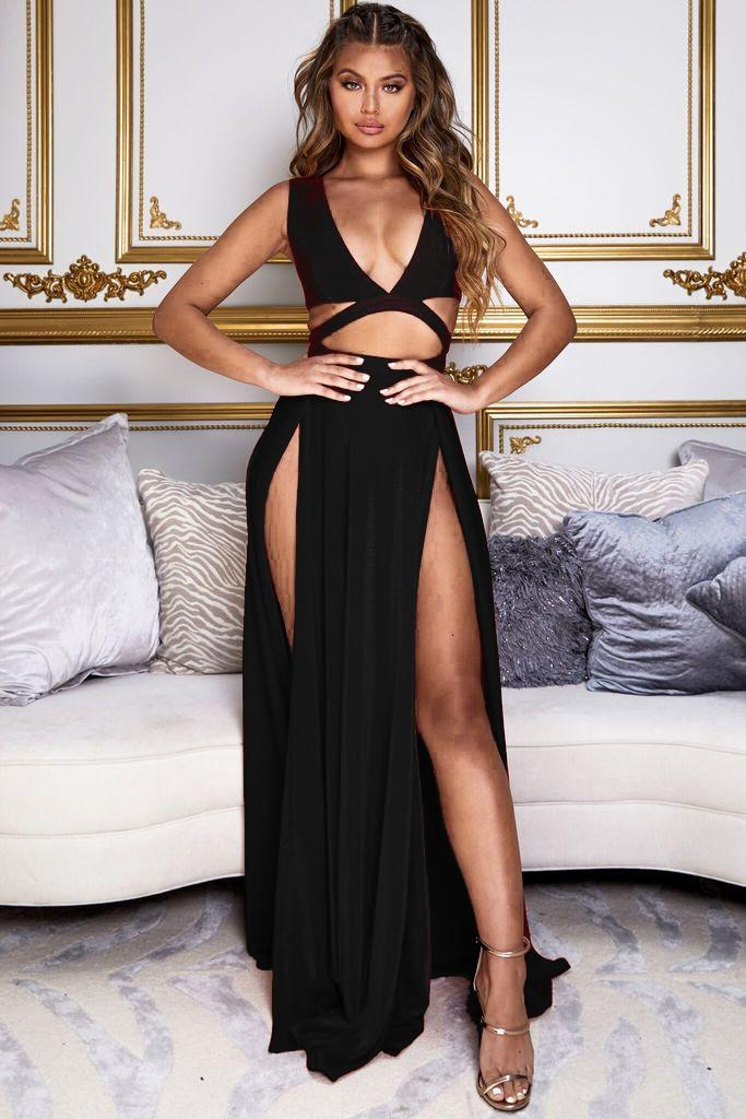 Black Sheer Cini Formal Gown with High Front Slits