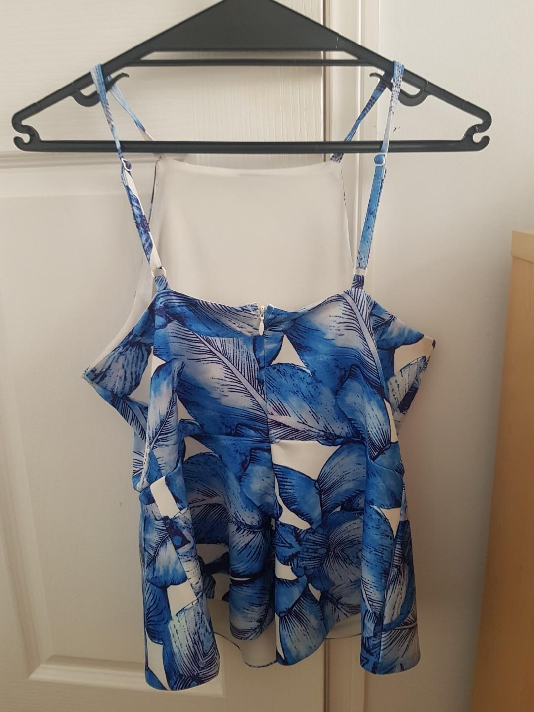 Blue and white leaf print strap peplum top size small