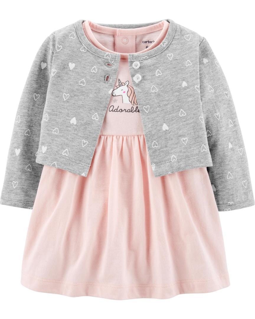 Carter's baby girl 2-Piece Unicorn Bodysuit Dress & Cardigan Set