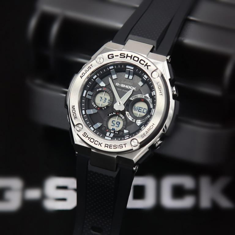 Casio G-STEEL GST-S110-1A G-Shock Analog Digital Sporty Design TOUGH SOLAR Black Resin Band Silver Case Original Watch GST-S110