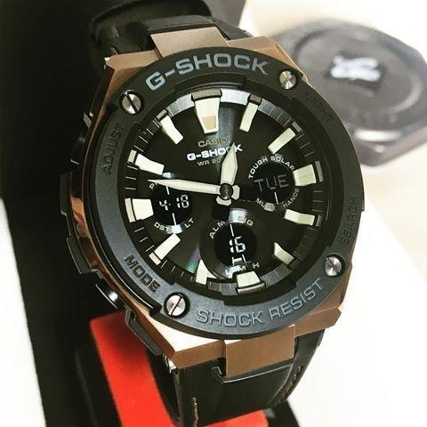 Casio G-STEEL GST-S120L-1A G-Shock Analog Digital Sporty Design TOUGH SOLAR Black Resin Band Brown Case Original Watch GST-S120L
