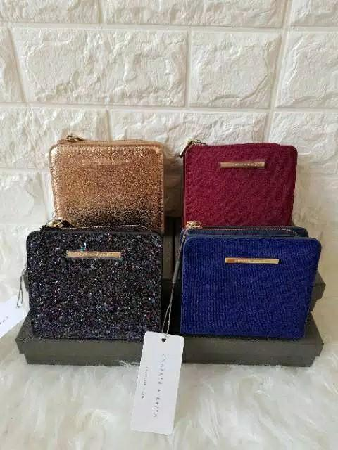 dompet charles and keith mini suede glitter zipper kancing grade ori