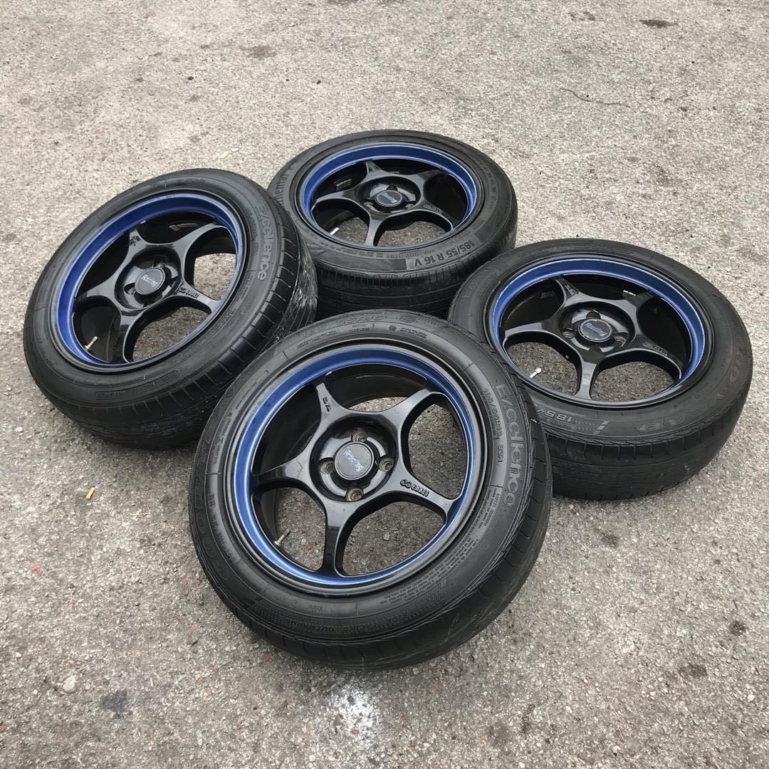 enkei rpo1 16 inch sports rim suzuki swift tyre 70% .. shangat mantaps!!