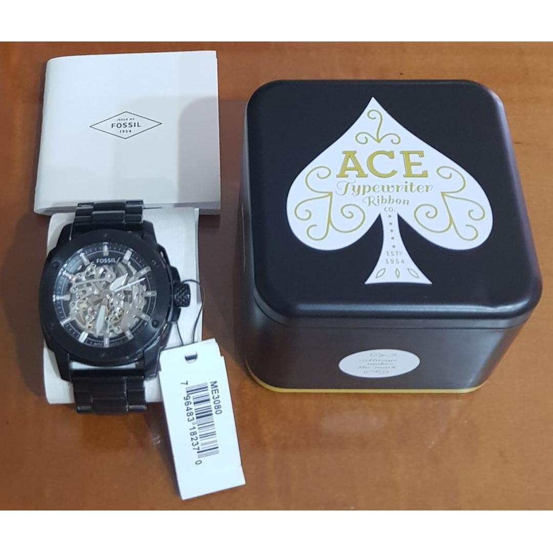 Fossil摩登時尚黑色不鏽鋼機械腕錶 ME3080