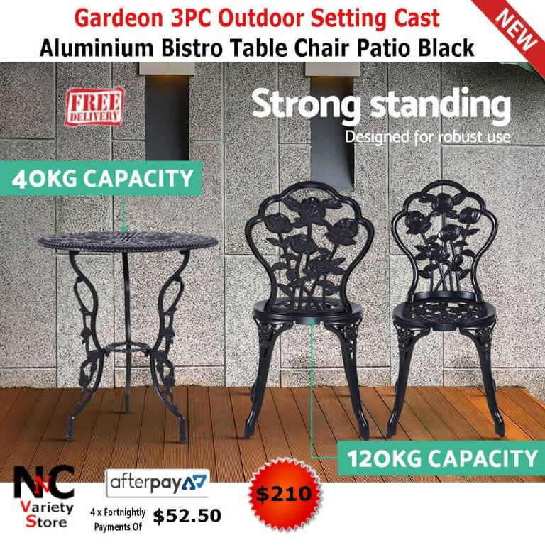 Gardeon 3PC Outdoor Setting Cast Aluminium Bistro Table Chair Patio Black